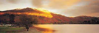 Sunlight On Mountain Range, Ullswater Art Print by Panoramic Images