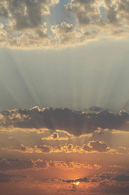 Sunlight Shining Through Clouds And Print by Keith Levit