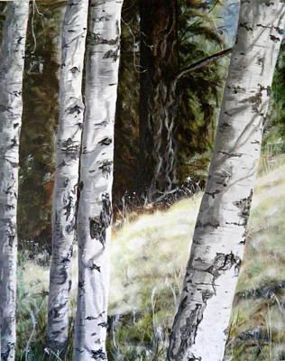 Painting - Sunlit Aspens Davis Creek Montana by Sharon Tabor