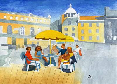 Sunlit Cafe Scene Art Print by Bav Patel