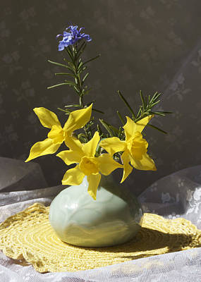 Photograph - Sunlit Daffodils In A Celadon Vase by MM Anderson