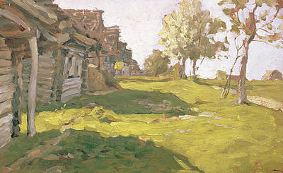 Hamlet Painting - Sunlit Day  A Small Village by Isaak Ilyich Levitan