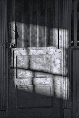 Photograph - Sunlit Door In Black And White by Randall Nyhof