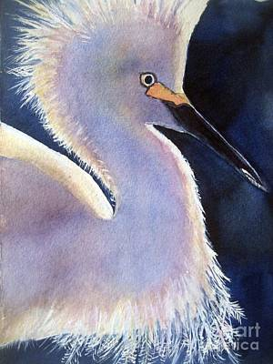 Egret Watercolor Painting - Sunlit Egret by Patricia Pushaw