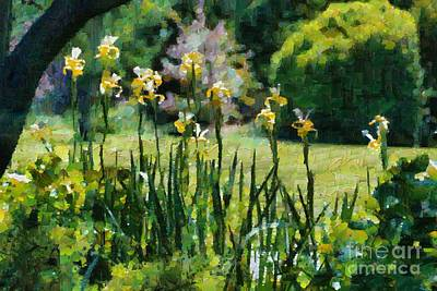 Digital Art - Sunlit Irises by Fran Woods