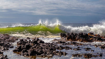 Photograph - Sunlit Ocean Waves by Wes and Dotty Weber