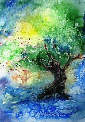 Art Print featuring the painting Sunlit Olive Tree In Skiathos  by Trudi Doyle