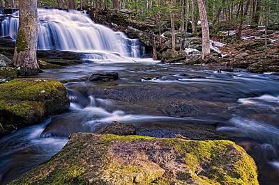 Photograph - Sunlit Rock At Tucker Brook Falls. by Jeff Sinon