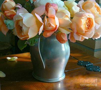 Photograph - Sunlit Roses In Pewter Vase by Diana Besser