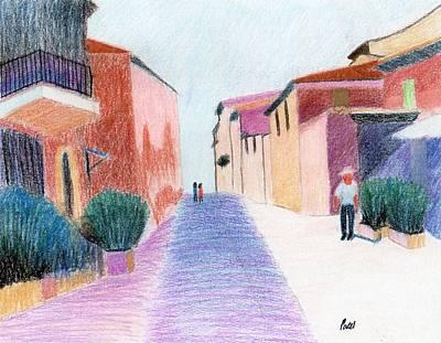 Pastel - Sunlit Street Scene by Bav Patel