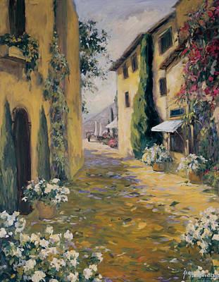 Villa Painting - Sunlit Villa I by Allayn Stevens