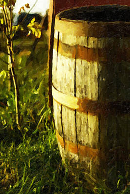 Sunlit Wooden Barrel-three Art Print by David Allen Pierson