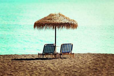 Sunloungers And Parasol Art Print by Wladimir Bulgar