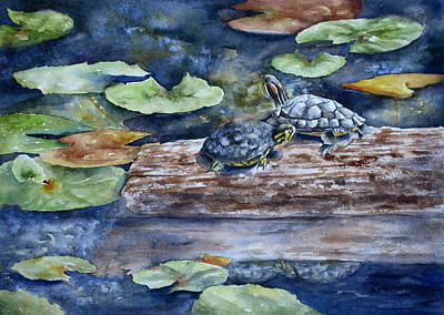 Slider Painting - Sunning Sliders by Mary McCullah