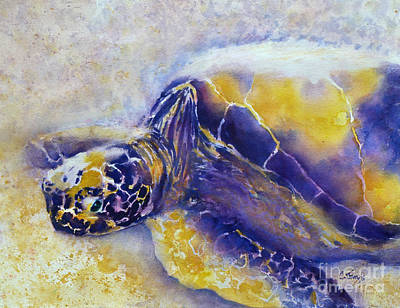 Painting - Sunning Turtle by Carolyn Jarvis