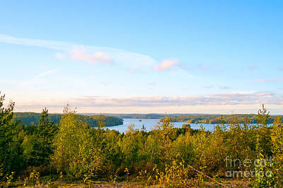 Photograph - Sunny Autumn View At The Lake Hiidenvesi by Ismo Raisanen