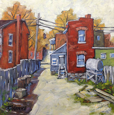 Montreal Back Lanes Painting - Sunny Back Lane By Prankearts by Richard T Pranke