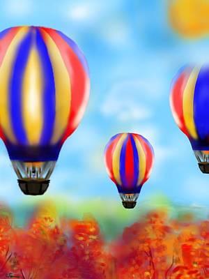 Sunny Balloon Ride Art Print by Christine Fournier