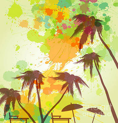 Seashore Wall Art - Digital Art - Sunny Beach Watercolor Vector by Lunetskaya