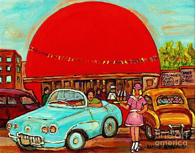 Streetscenes Painting - Sunny Day At The Big Orange Julep  Montreal Road Side Diner Carole Spandau by Carole Spandau