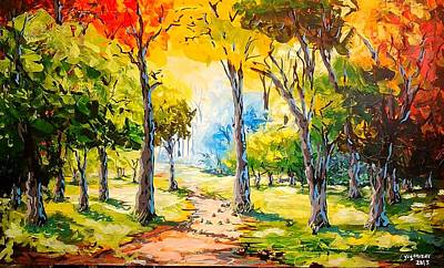Pallet Knife Painting - Sunny Day In The Park by Evans Yegon