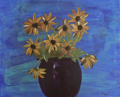 Art Print featuring the painting Sunny Day Sunflowers by Tatum Chestnut