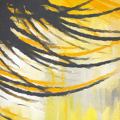 Abstract Yellow And Grey Painting - Sunny Field by Lourry Legarde