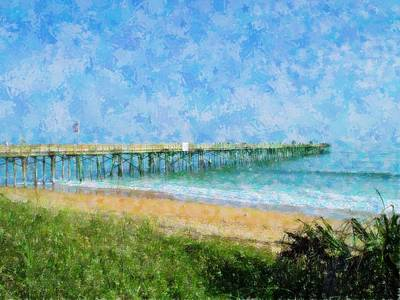 Digital Art - Sunny Flagler Pier View by Cheryl Waugh Whitney