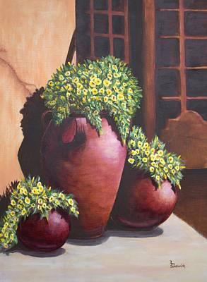 Sunny Flower Pots Print by Ann Sokolovich