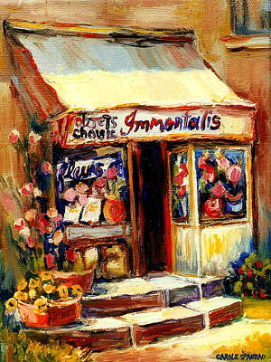 Painting - Sunny Flower Shop On The Corner Immortalis Fleurs Et Objets Gardening And Flower Market Scene by Carole Spandau
