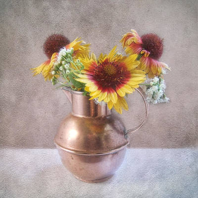 Print featuring the photograph Sunny Treasure Flowers In A Copper Jug by Louise Kumpf