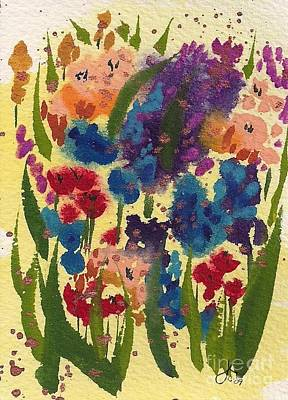 Wet-on-wet-technique Painting - Sunny Garden 300 20091006 by Julie Knapp
