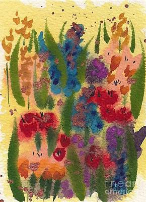 Wet-on-wet-technique Painting - Sunny Garden Three 301 20091006 by Julie Knapp