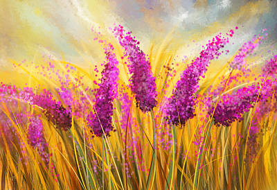 Sunny Lavender Field - Impressionist Print by Lourry Legarde