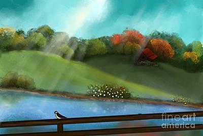 Sunny Meadow By The Water Art Print by Nancy Long