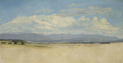 Distant Painting - Sunny Mountainous Panorama, 1829 Wc On Paper by Jacob Gensler