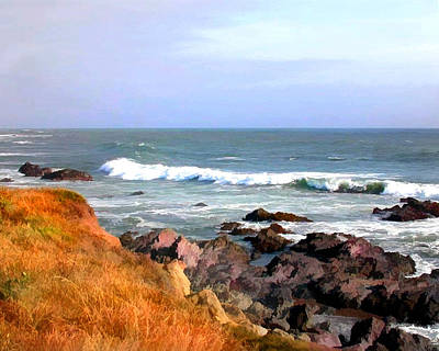 Cambria Painting - Sunny Ocean Shoreline by Elaine Plesser