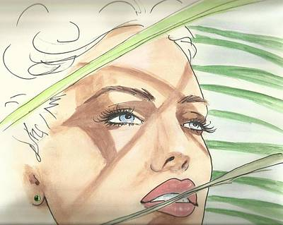 Woman Face Drawing - Sunny Palms by P J Lewis