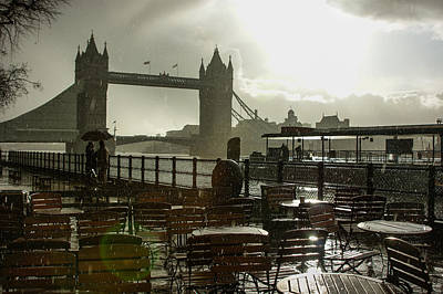 Sunny Rainstorm In London - England Art Print