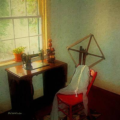 Sunny Sewing Room Print by RC deWinter