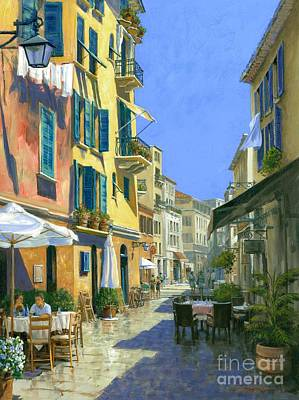 Italian Restaurant Wall Art - Painting - Sunny Side Of The Street 30 X 40 - Sold by Michael Swanson