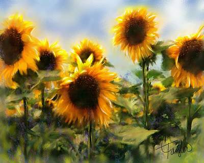 Tuscan Sunflowers Painting - Sunny-side Up by Colleen Taylor
