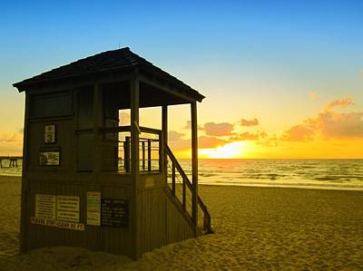 Photograph - Sunny Sunrise Lifeguard Tower by MTBobbins Photography