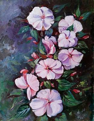 Art Print featuring the painting Sunpatiens Flowers by Rose Wang