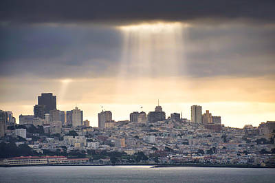 Photograph - Sunrays On The San Francisco Skyline - California by Gregory Ballos