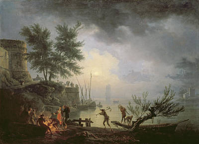 Campfire Painting - Sunrise, A Coastal Scene With Figures by Claude Joseph Vernet