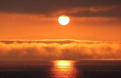 Sunrise And Fog Art Print by E Faithe Lester
