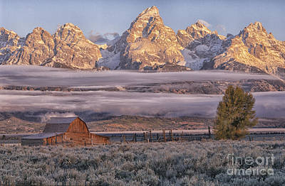Photograph - Sunrise And Fog - Grand Tetons by Sandra Bronstein