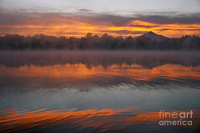 Pilchuck Photograph - Sunrise And Fog Over Lake Cassidy by Jim Corwin