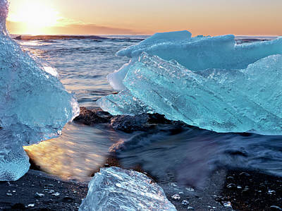 Iceberg Photograph - Sunrise And Iceberg Formation by Tom Norring